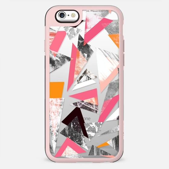 Textured and pink geometric clear case - New Standard Case