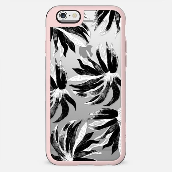 Black and white exotic leaves