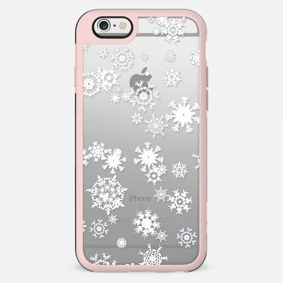 White snowflakes clear case