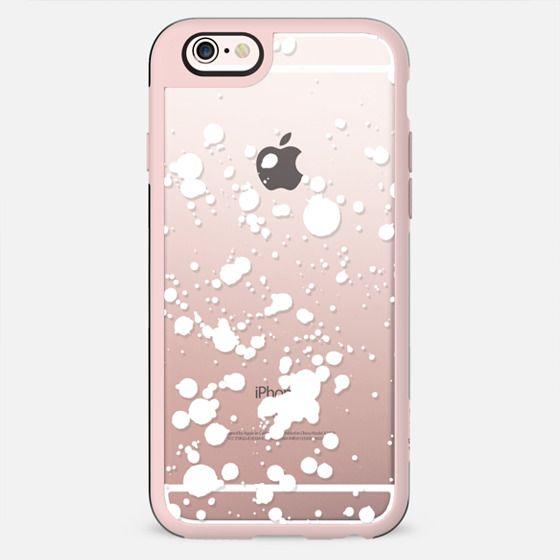 White snow splatter clear case
