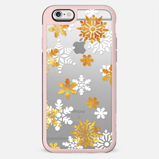 Gold and white snowflakes