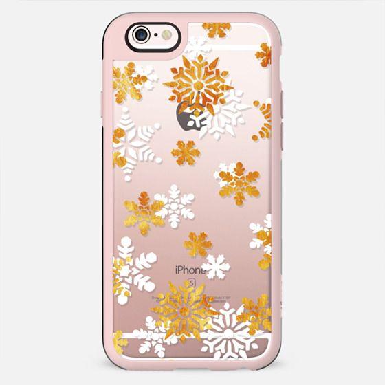 Gold white snowflakes print