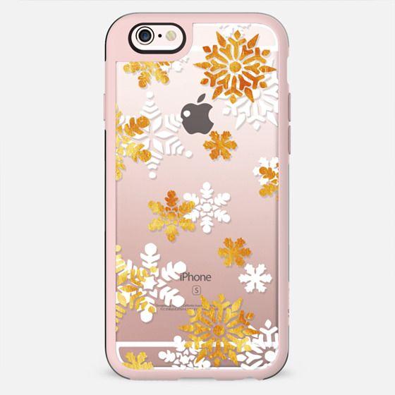 Golden - white snowflakes - New Standard Case