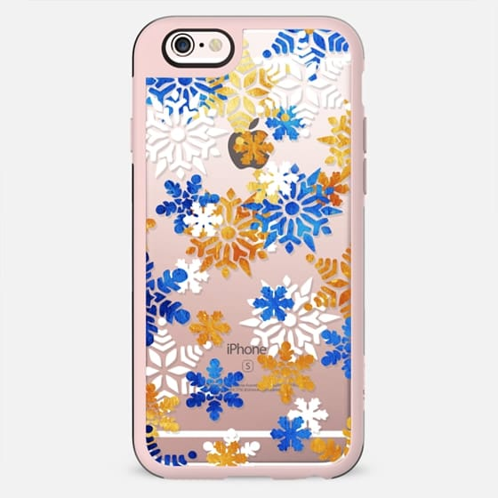 Blue gold white snowflakes - Christmas - New Standard Case