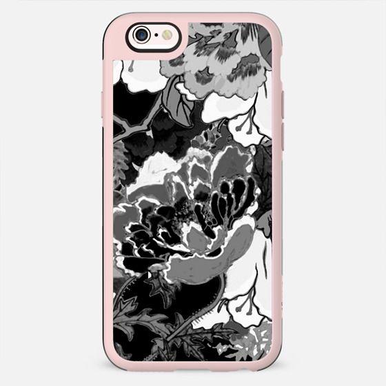 Black and white oriental line art flowers - New Standard Case