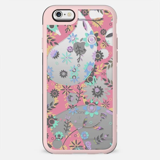 Pink turquoise florals clear case