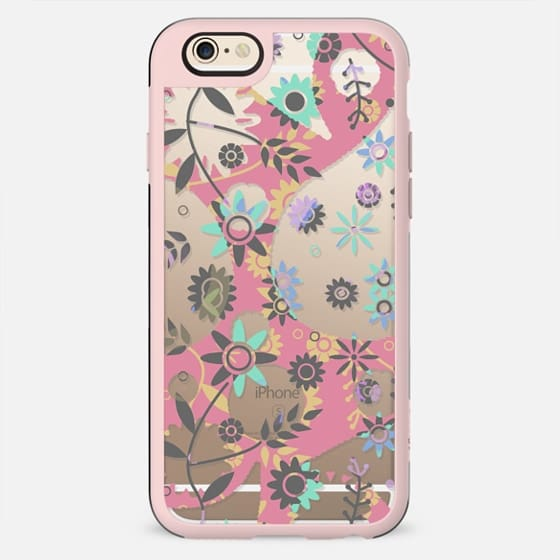 Pink turquoise minimal flowers - New Standard Case