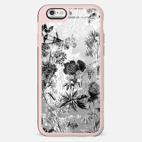 Black and white flowers line art - New Standard Case