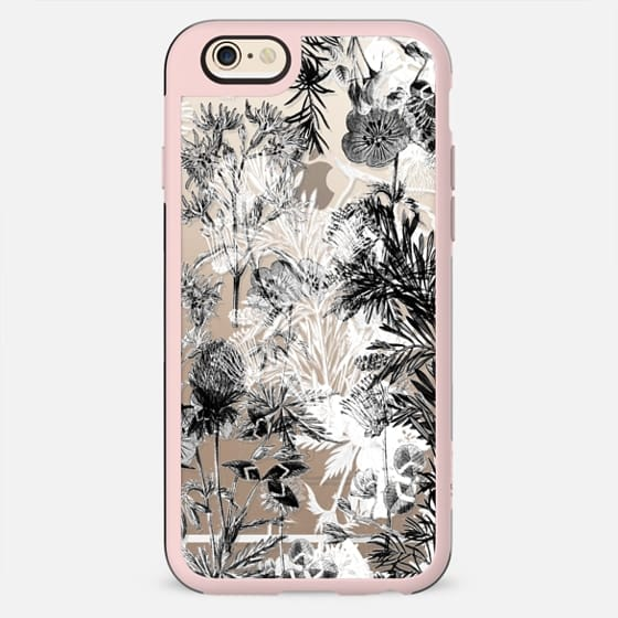 Monochrome floral line art clear case