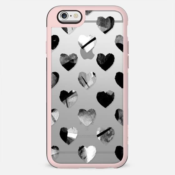 Black and white painted hearts