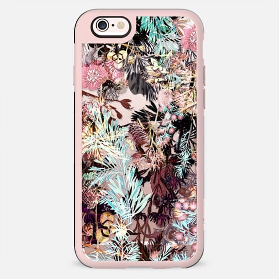 X-ray pink botanical garden clear case