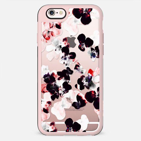 White-pink-black pansy flower petals