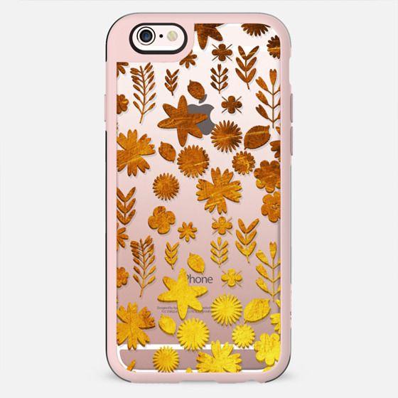 Gradient golden flowers collage