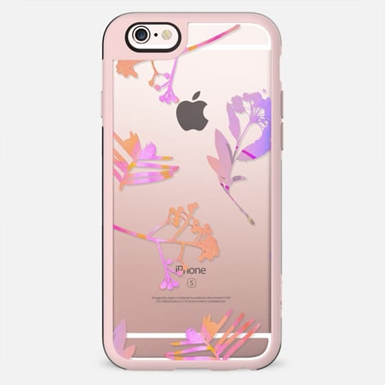 Minimal pink flowers clear case