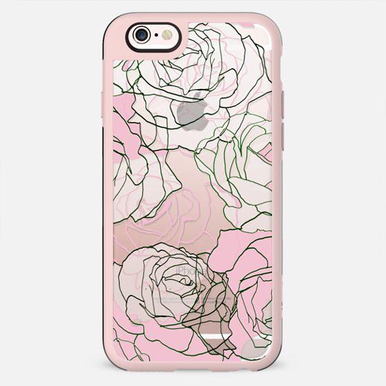 Pink transparent line art roses