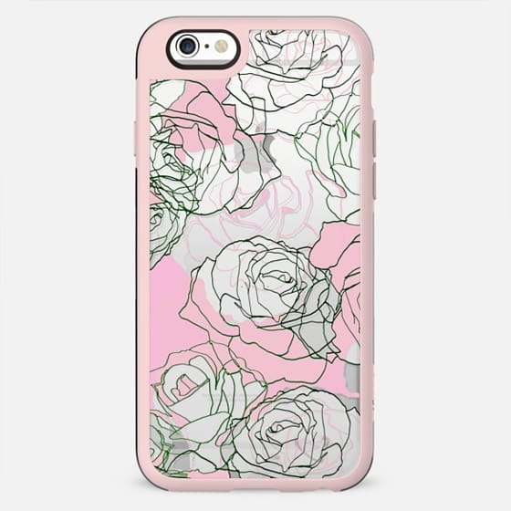 Pastel pink transparent roses illustration