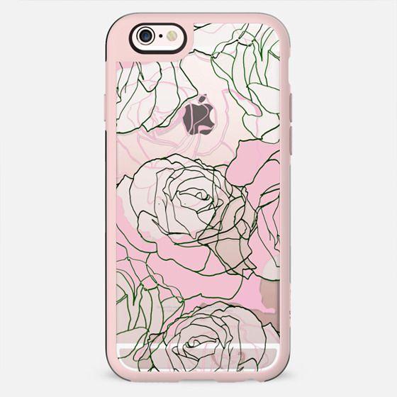Line art pastel pink roses