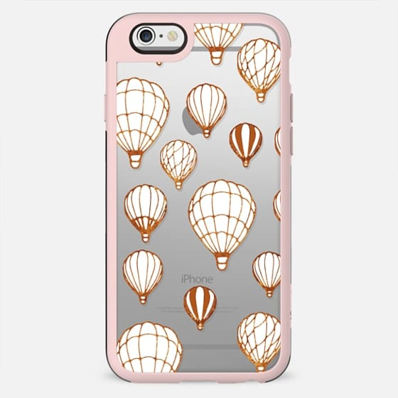 White-golden air balloons clear case