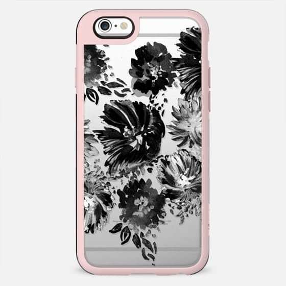 Hand painted textured black flowers