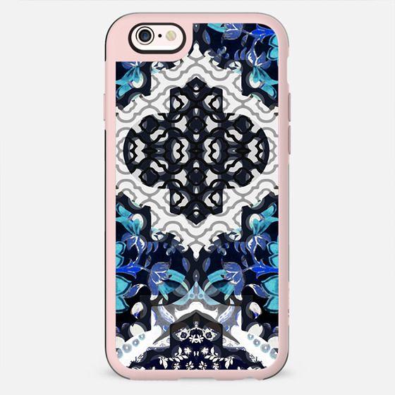 Ethnic blue white black pattern