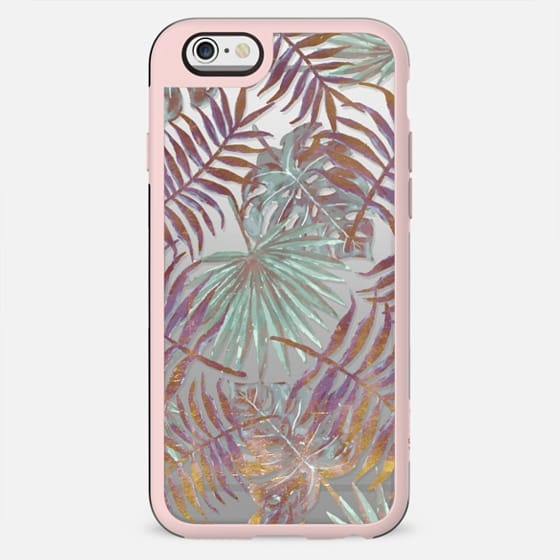 Pastel-golden tropical leaves clear
