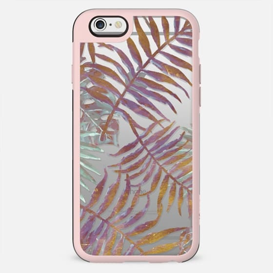 Pastel painted tropical leaves