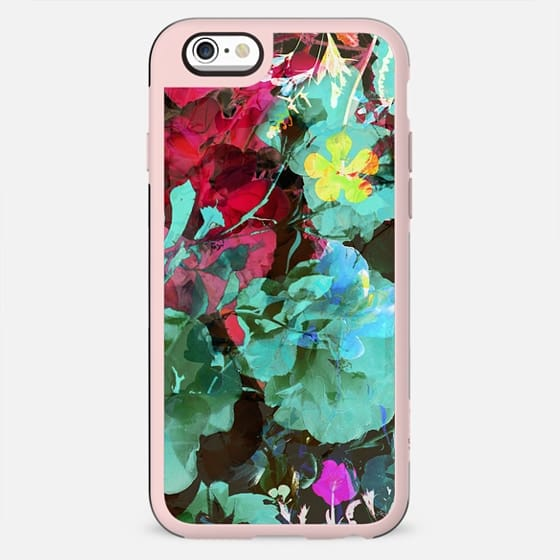 Psychedelic turquoise floral print