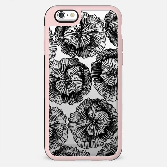 Black line art petals
