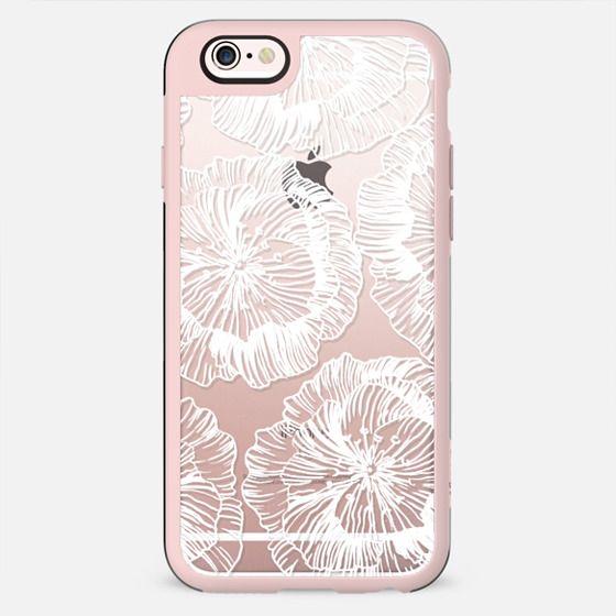 White flowers line art clear - New Standard Case