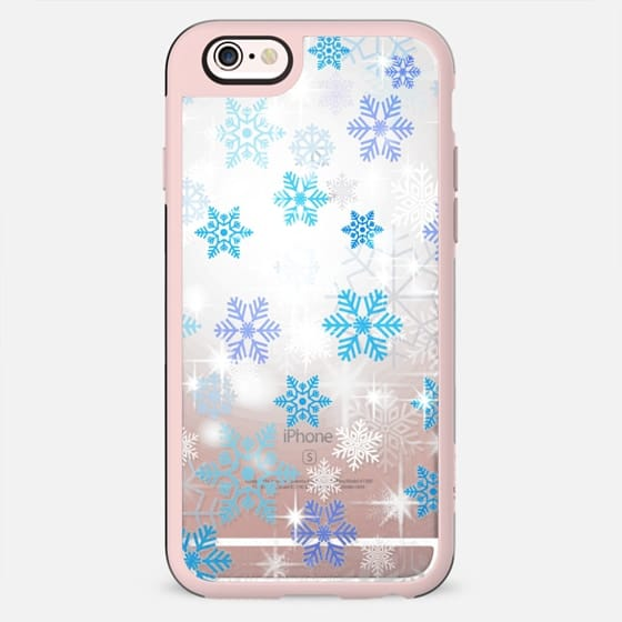 Blue white snowflakes sparkle - New Standard Case