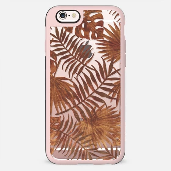 Golden tropical leaves palm and ficus - New Standard Case
