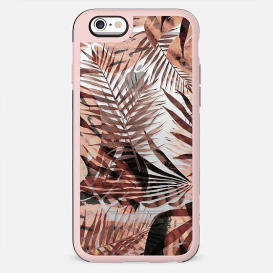 Brown tropical painted leaves clear case