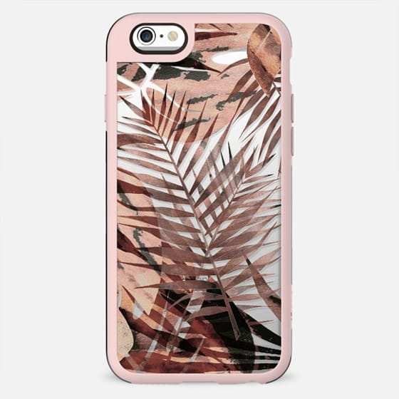 Brown tropical painted leaves clear case - New Standard Case