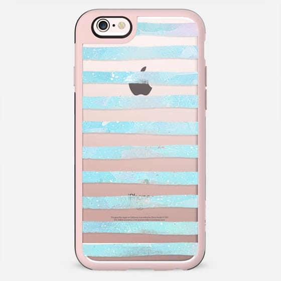 Pastel blue watercolor stripes clear - New Standard Case