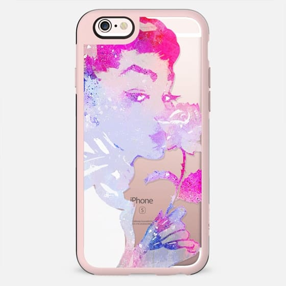 Pink painted woman with rose clear case - New Standard Case