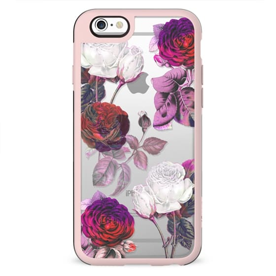 Pink white painted roses clear case