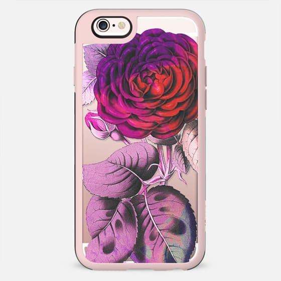 Red pink rose botanical clear case