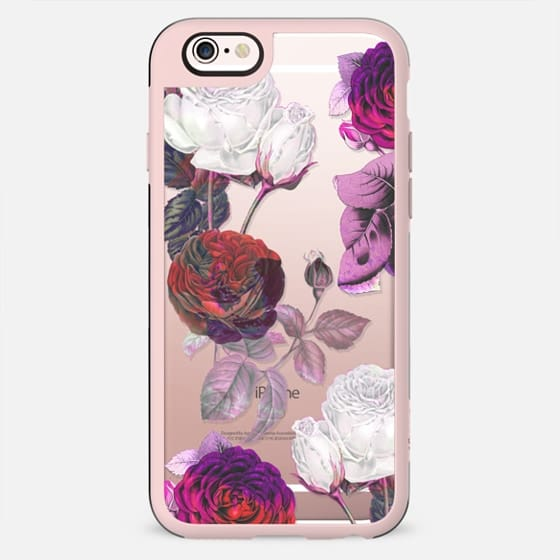 White - pink roses botanical clear case
