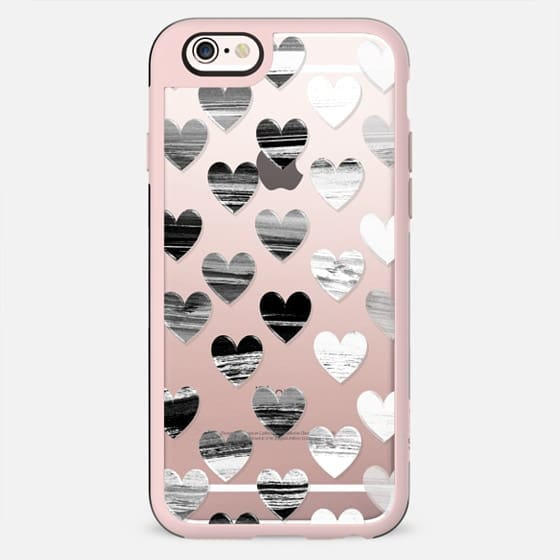 Black and white brushed hearts