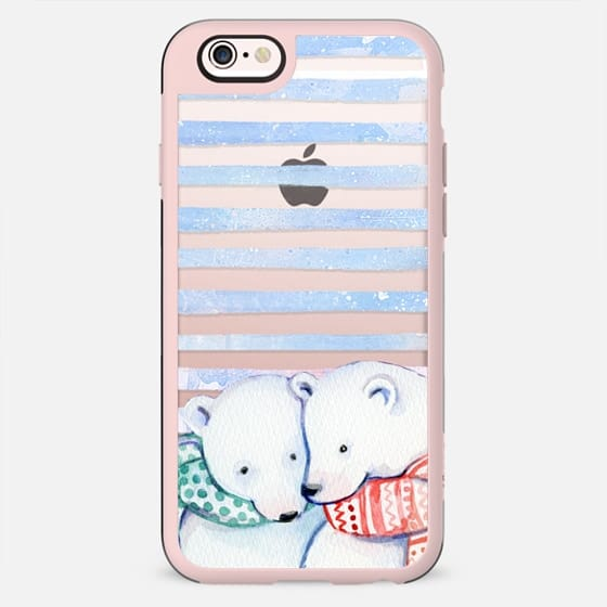 Cute cuddling polar bears and blue stripes - New Standard Case