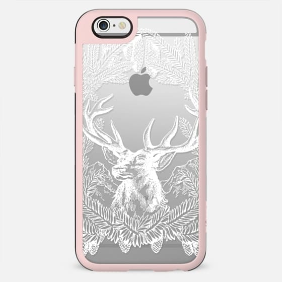 Deer and pine branches clear winter case - New Standard Case