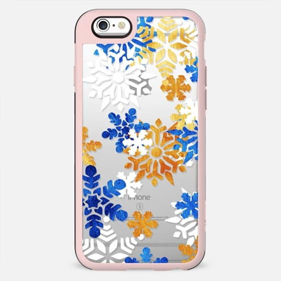 Blue gold snowflakes clear case - New Standard Case