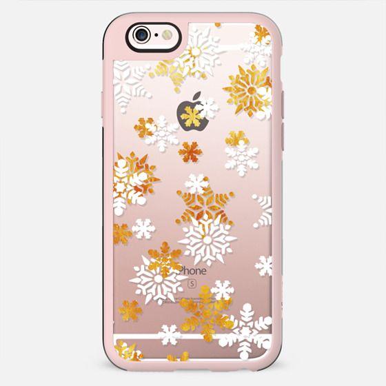 Gold white snowflake pattern - New Standard Case