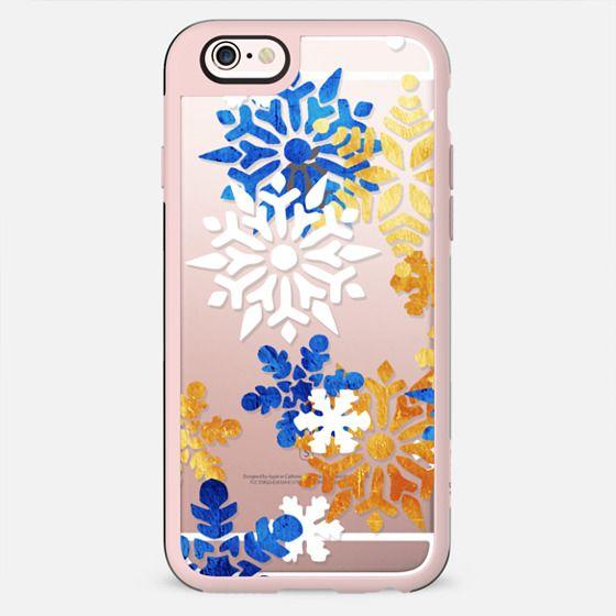 Blue gold white snowflakes - New Standard Case