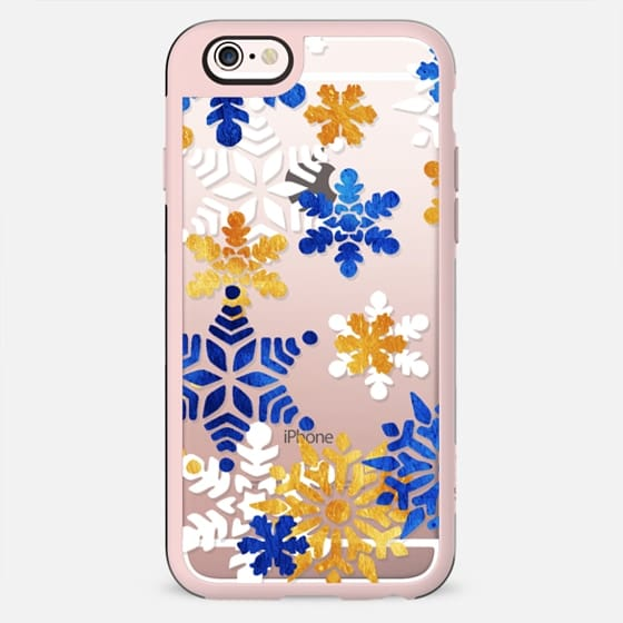 Gold white blue painted snowflakes - New Standard Case
