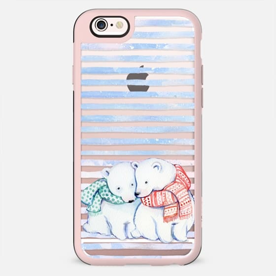 Cute cuddling polar bears and blue stripes - New Standard Case