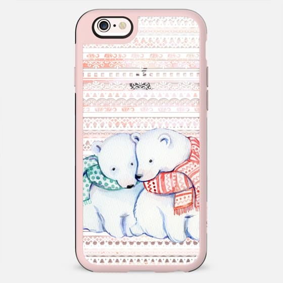 Cute cuddling polar bears and ethnic stripes - New Standard Case