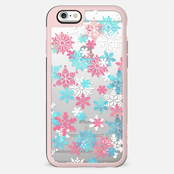 Blue pink watercolor snowflakes - New Standard Case