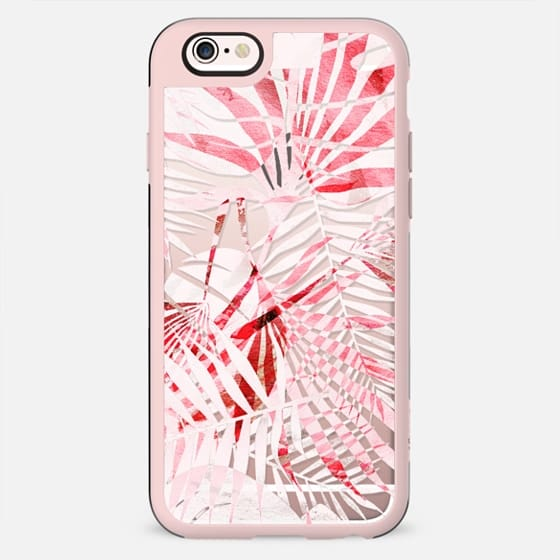 Light pink tropical leaves - clear case - New Standard Case
