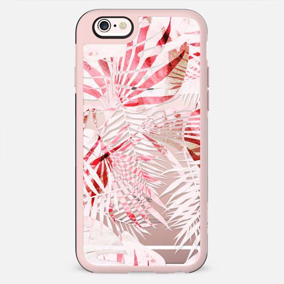 Light pink tropical leaves - transparent